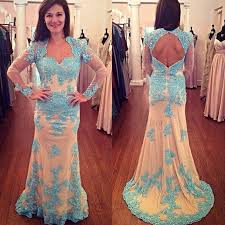 charming blue mermaid prom dress scoop long sleeves open back