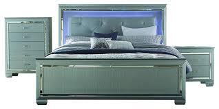 homelegance allura 3 piece panel bedroom set with led lighting in