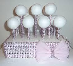 pink bling faux rhinestone cake pop stand wedding