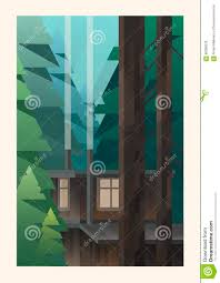 small cabin in the woods stock vector image 66388229