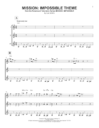 mission impossible theme sheet music by lalo schifrin guitar