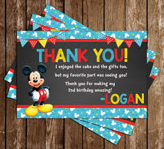 mickey mouse thank you cards novel concept designs mickey mouse blue banner thank you card