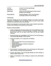 Sales Supervisor Job Description Resume Food And Beverage Supervisor Job Description Top 10 Food And