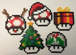 set of 5 mushroom christmas tree ornaments perler beads by