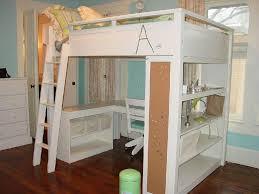 White Wood Desk Full Size Loft Bed With Desk Wood Best Home Furniture Decoration