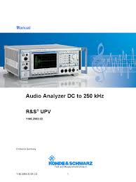 rohde schwarz upv audio analyzer manual electrical connector