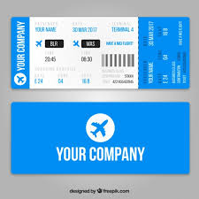 realistic boarding pass template with blue airplanes vector free