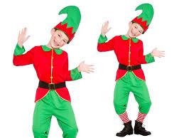 kids elf costume boys girls christmas play santas helper fancy