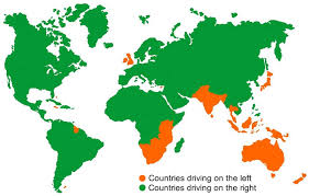 use map drive countries that drive on the right driving test tips