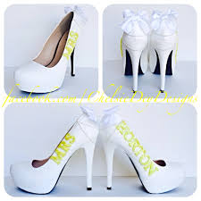 white wedding shoes for the wedding glitter high heels yellow last name platform pumps white