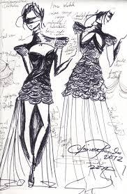 cocktail drawing developmental sketch floral cocktail dress by romanticotaku17 on