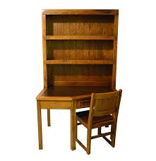 Oak Desk With Hutch Young Hinkle Oak Desk With Bookcase And Chair Ebth