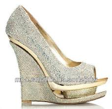 wedding shoes brands china factory top brand bling bling crystals wedge wedding shoes