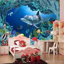 dolphin home decor 3d wall mural underwater world cute fish dolphin large wallpaper art