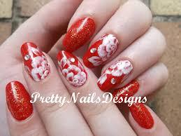 white roses on red polish nail art youtube
