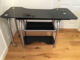 metal computer desks workstations l shaped corner black glass metal computer desk home office