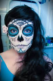 Day Of The Dead Halloween Makeup Ideas Sugar Skull Makeup Blue Sugar Makeup Sugar Skull By