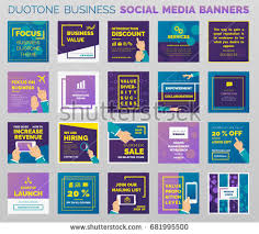 social media brochure template duotone styled social media business banners stock vector
