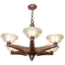 Art Deco Ceiling Lamp Art Deco Six Light Bronze Chandelier By Atelier Petitot At 1stdibs