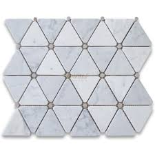 marble mosaic tile carrara white 2 3 4 inch triangle mosaic tile w gray round dots