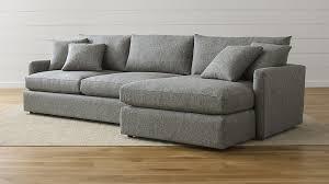Sectional Sofa Lounge Ii Light Grey Fabric Sectional Sofa Crate And Barrel