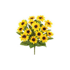 silk sunflowers 16 yellow silk sunflowers bush polyvore