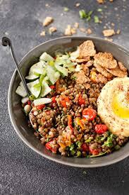 Mediterranean Style Food - mediterranean style detox bowl with marinated lentils veggies by