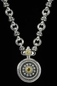 silver gold diamond necklace images Sun dial necklace silver gold diamond citrine handmade jpg