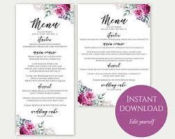 party menu template wedding menu cards menu cards editable