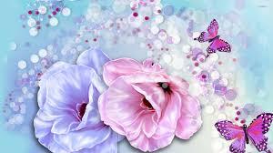 butterflies and roses wallpaper digital wallpapers 22969