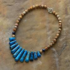 stone choker necklace images Blue brown jasper natural stone choker necklace bohemian jewelry jpg
