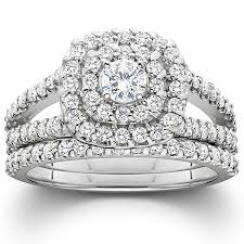 diamond wedding ring sets for 1 1 10ct cushion halo diamond engagement wedding ring