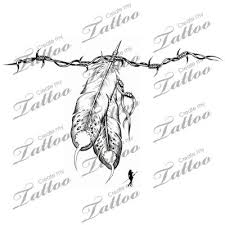 grey ink feathers and barbed wire design