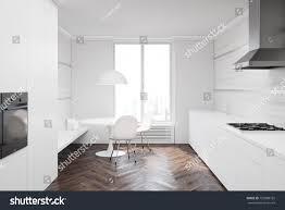 Black And White Kitchen Interior by White Kitchen Interior Wooden Floor White Stock Illustration