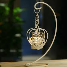 the european white iron candlestick glass lantern candle