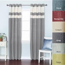 Striped Linen Curtains Grey Striped Heavyweight Textured Faux Linen Grommet Top Curtain