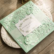 mint wedding invitations boho deer mint green laser cut wedding invites ewws129 as low as