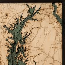 chesapeake bay wood map 3d nautical topographic chart framed art