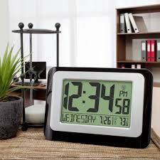 digital atomic calendar clock with indoor temperature walmart com