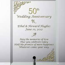 wedding anniversary plaques personalized 50th wedding anniversary glass plaque findgift