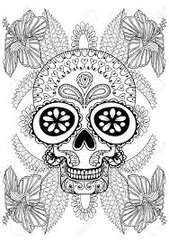 hand drawn artistic skull in flowers for coloring page