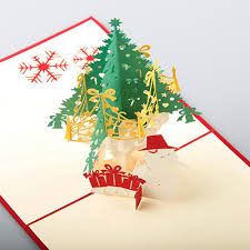 handmade 3d pop up greeting cards merry tree thanks