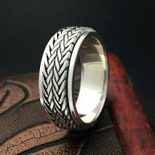 simple cool rings images Real silver rings for men woven band design spinner ring men real jpg