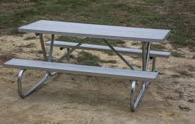 Commercial Picnic Tables And Benches 6 Ft Rectangular Aluminum Picnic Table With Bolted 1 5 8