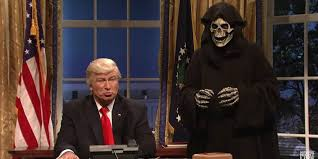 alec baldwin as donald trump meets up with grim steve bannon in