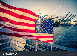 American Flag Sunset American Flag Waving On Boat Background Stock Photo 400405429