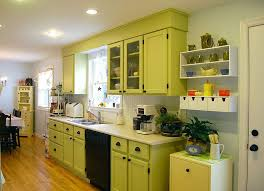 vintage lime green kitchen cabinet decor ideas with laminate