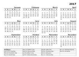 2017 us calendar printable printable 2017 calendar with us holidays 2017 year calendar template
