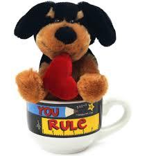 Animal Mug Valentine Brown Plush Teddy Bear With Plush Rose Latte Mug Set