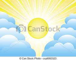 sun and clouds bright yellow sun with sunrays in sky and